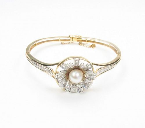 Antique, 14k gold, diamond, baroque pearl bangle, bracelet