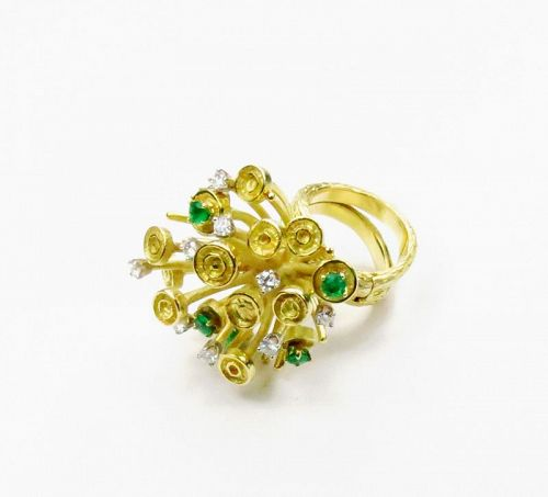 Modernist, 18k yellow gold, diamond, emerald ring