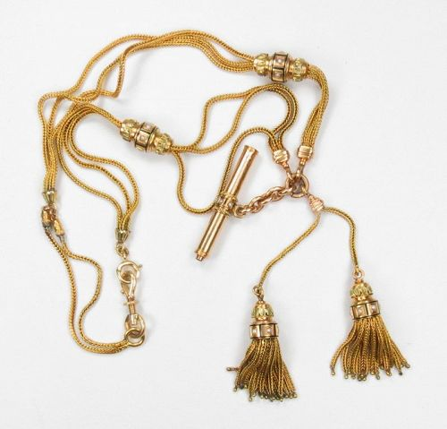 Antique, 18k gold, enamel, seed pearls watch chain with tassels