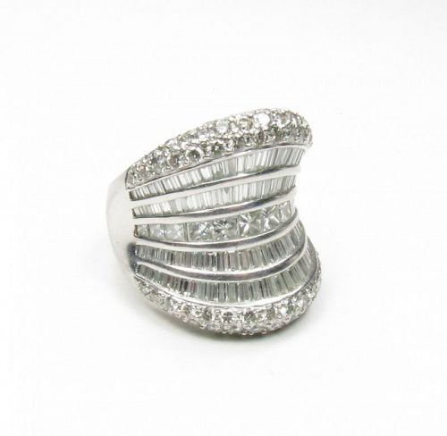 Large, estate, platinum and 4 carats of diamonds cocktail ring