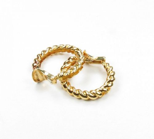 Tiffany & Co, 18k yellow gold twisted rope hoop earrings
