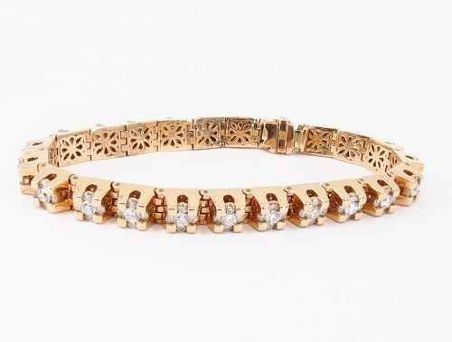 Large, unisex, 14k rose gold and 6.6 carats diamond tennis bracelet