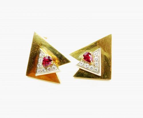 Retro, signed, 14k gold, natural ruby, diamond earrings