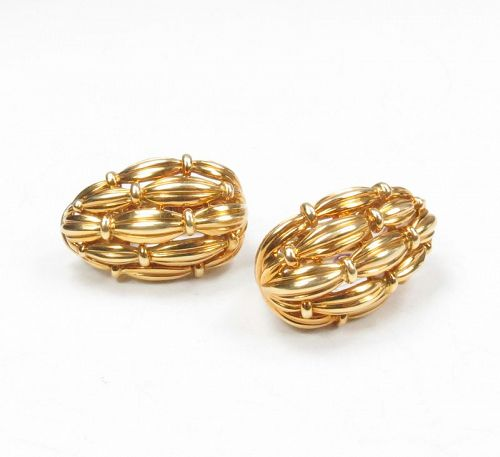 Retired, Tiffany & Co, 18k yellow gold bamboo design earrings