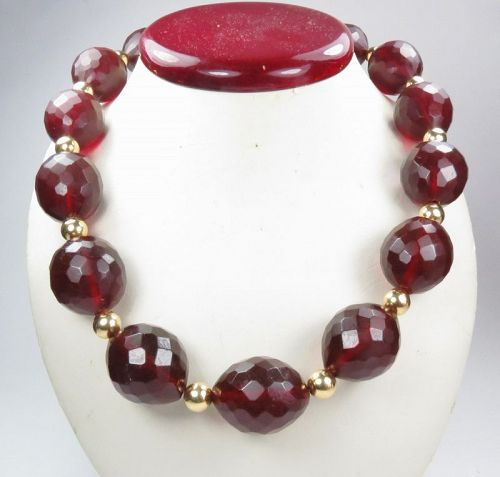 Rare, antique, natural cherry amber and 14k gold bead necklace