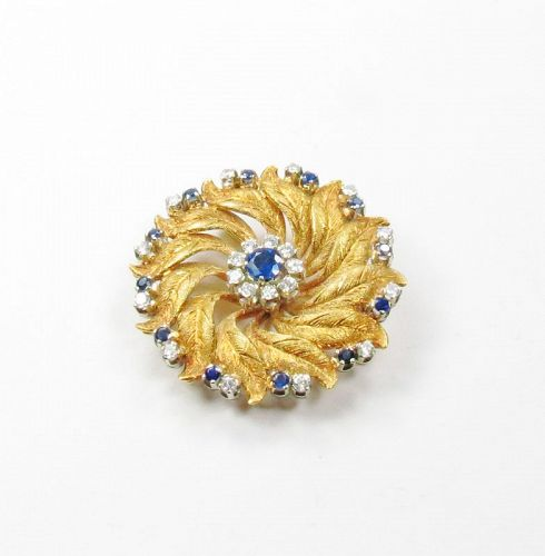 Retro, 18k yellow gold, sapphire, diamond pin, brooch