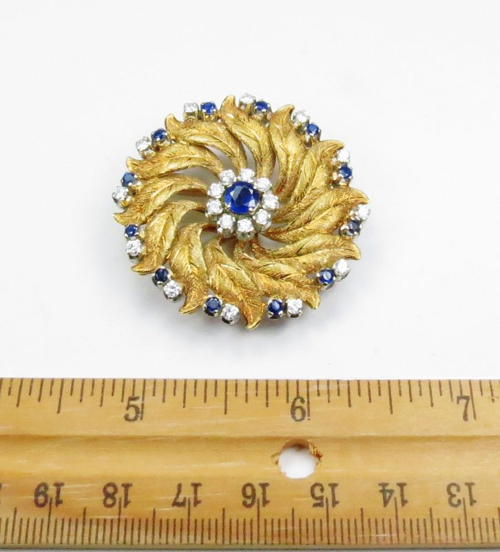 Retro, 18k yellow gold, sapphire, diamond pin, brooch