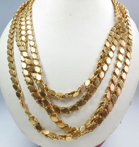 "Heavy, antique, solid 18k yellow gold chain necklace 78"" long."