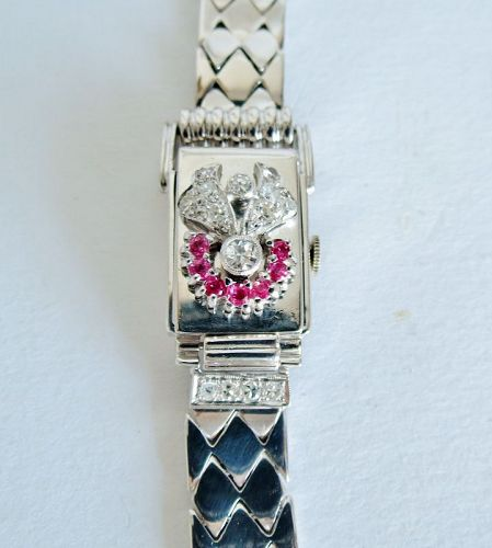 Swiss, 14k white gold, ruby, diamond, peek a boo ladies watch