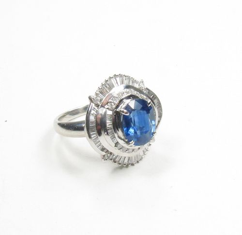 Platinum, 3.22ctw natural sapphire, 1.07ctw diamond ring