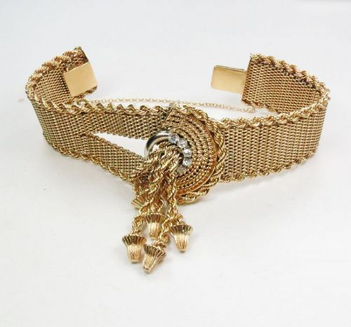 Vintage 14K gold diamonds tassel mesh bracelet 79 grams