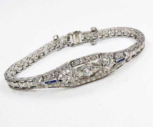 Art Deco, platinum, 3.5ctw diamond, sapphire bracelet