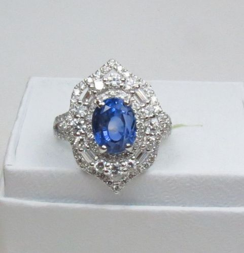 Platinum, 4.2ctw natural no heat sapphire, 1ctw diamond ring