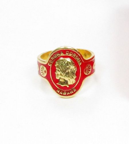 Vintage, Cartier, 18k gold, enamel, cigar Corona ring