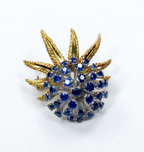 Estate, 18k yellow gold, 3.5ctw sapphire spray brooch pin