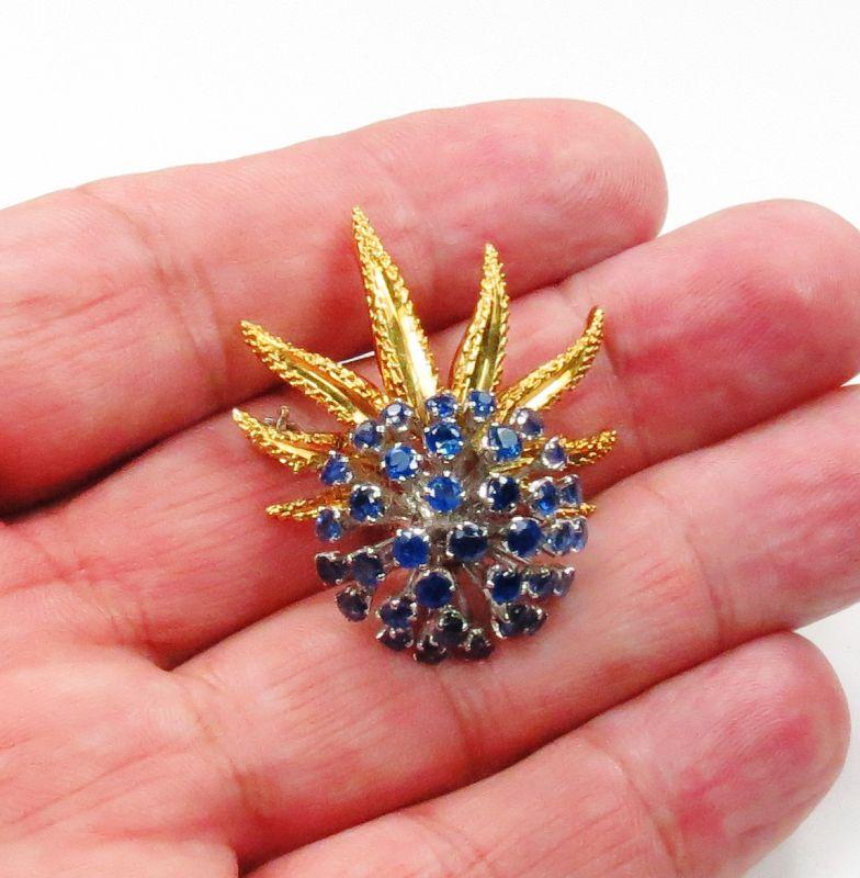 Estate, 18k yellow gold, 3.5ctw sapphire spray brooch pin