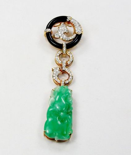Vintage, 18k gold, carved jade, diamond, onyx brooch, pendant