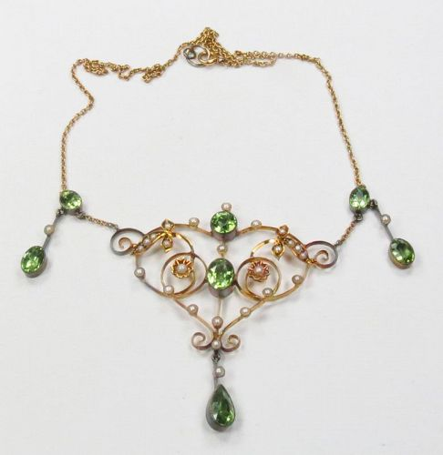 Art Nouveau, 10k gold, peridot, seed pearl lavalier necklace