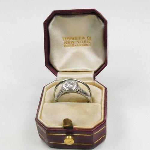 Antique, Tiffany & Co, platinum diamond engagement ring, band