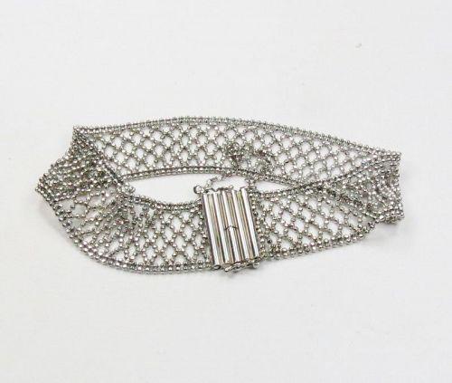 Estate, signed, Platinum mesh bracelet