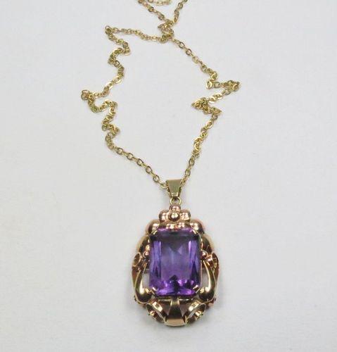 Art Nouveau, 14k rose, yellow gold, amethyst necklace