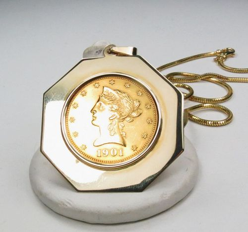 American 22k gold 10 dollar coin in 14k gold frame necklace
