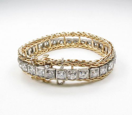 Platinum, 14k yellow gold, 16ctw diamond link bracelet
