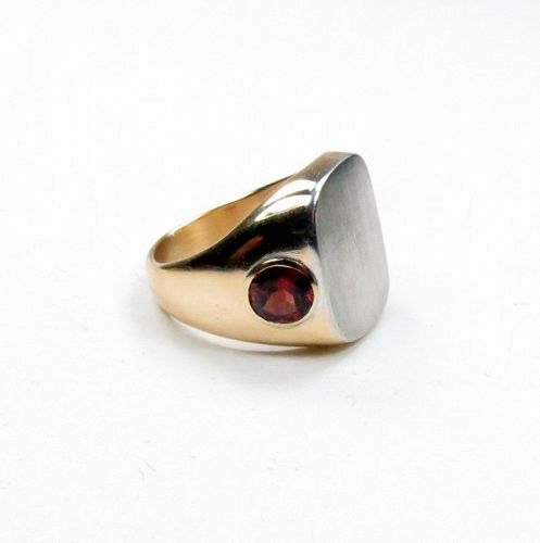 Tiffany & Co, 14k gold, garnet, heavy unisex signet ring