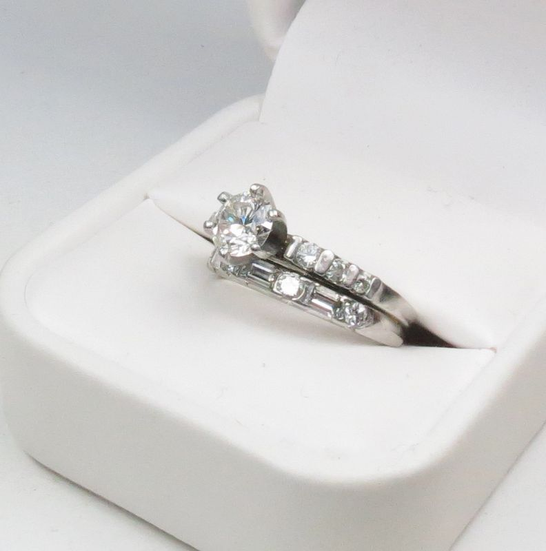 Estate, platinum, diamond wedding ring, band set
