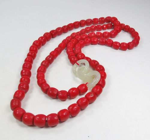Antique, natural oxblood red coral, white jade bead necklace