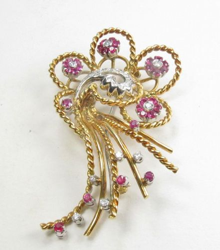 18k gold, ruby, diamond, En Trembland brooch pin