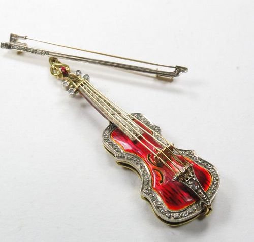 Antique, 18k gold, enamel, diamond violin brooch, pin