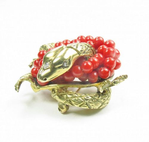 14k yellow gold, red coral, diamond dragon brooch, pin