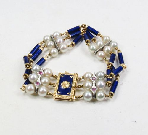 18k gold, blue enamel, pearl and ryby bracelet made in Italy