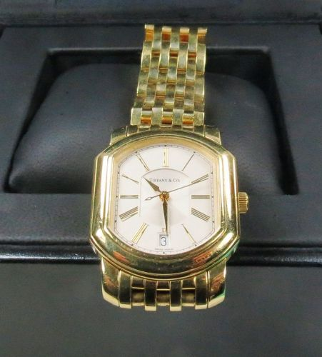 Tiffany & Co, 18k gold men's automatic watch with papers and box