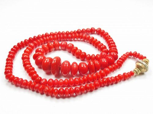 Mario Buccellati, 18k gold, red coral bead necklace