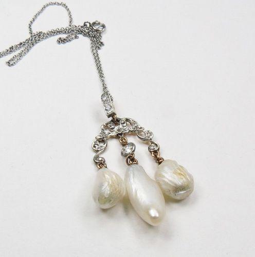 Antique, platinum, 18k gold, natural pearl diamond lavalier necklace