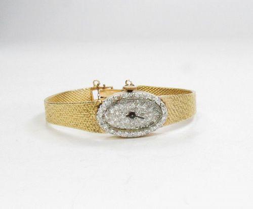 Vintage, Swiss, ladies, 14k gold diamond watch