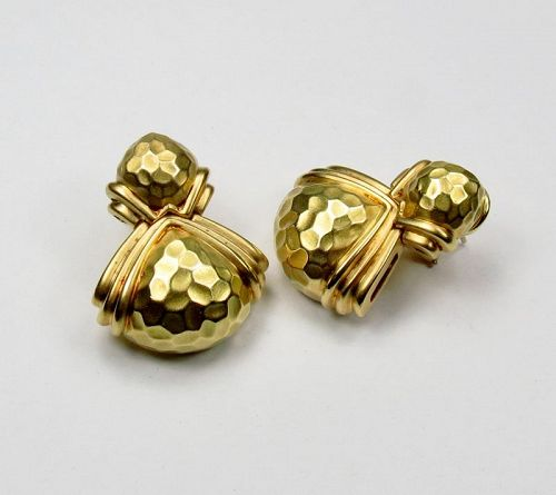 Signed, Hammerman Brothers, 18k yellow gold earrings