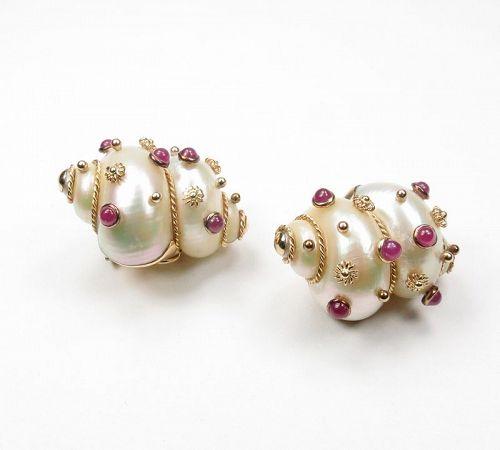 Estate, signed MAZ 14k gold. shell, ruby earrings
