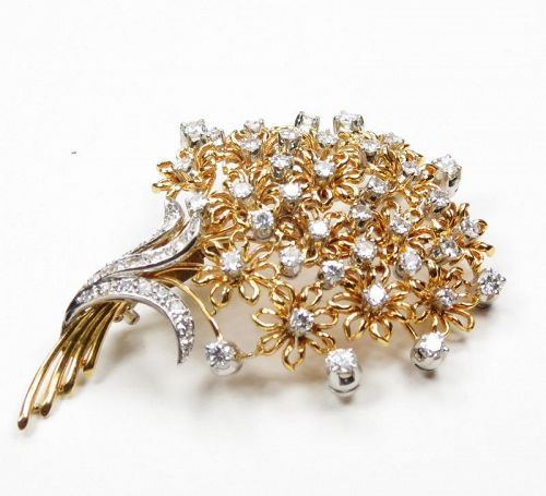 Retro, 18k yellow gold, platinum, 3.5 carats of diamonds brooch, pin