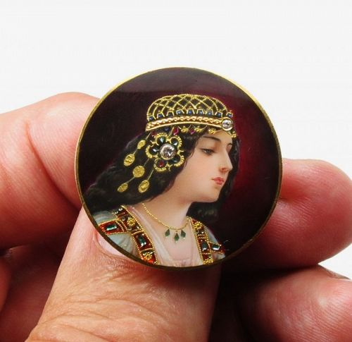 PLOJOUX Edwardian 18k gold, Diamond, Guilloché Enamel Portrait Pin