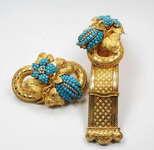 Antique, Victorian, 18k/19k gold, Persian turquoise bracelet, brooch