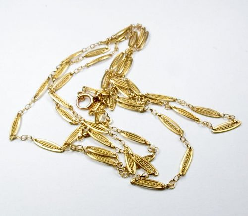 "Antique, French 18k yellow gold 53"" long chain necklace"