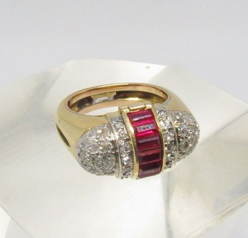 Art Deco, 18k gold, ruby, diamond poison ring