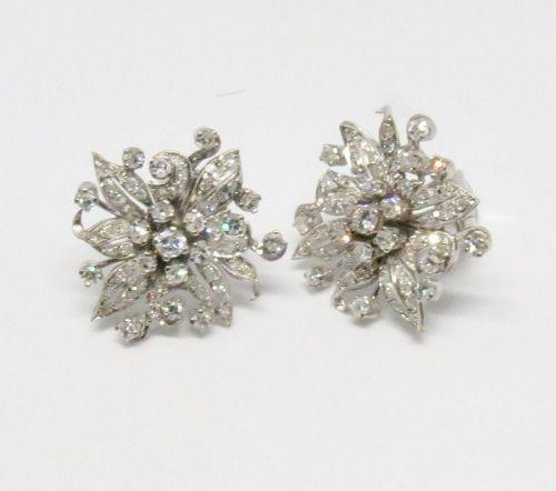 Antique, platinum 2 carats of diamonds flower earrings