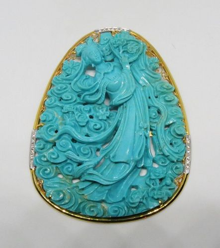 Huge, 14k gold, carved turquoise, diamond pendant. Kuan Yin.