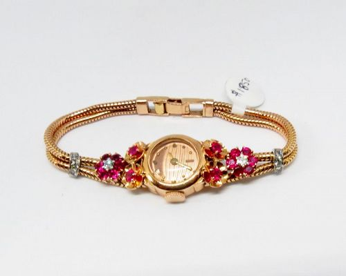 Antique, Tiffany & Co, 14k rose gold, ruby, diamond ladies watch