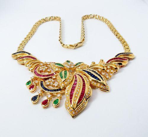 18k gold, emerald, ruby, sapphire, diamond necklace