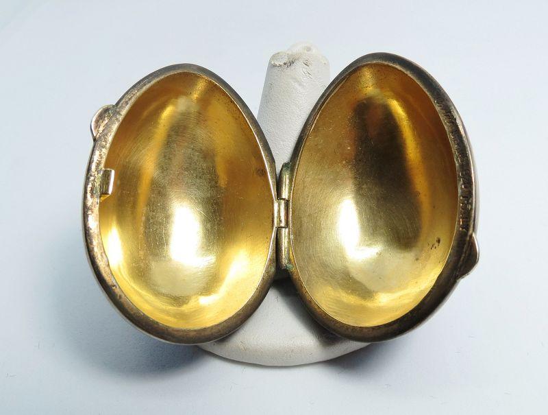 Cartier, sterling silver, enamel egg trinket box